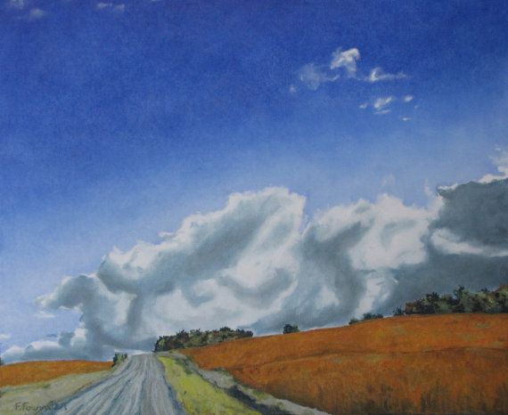 François Fournier Canadian Impressionist  http://francoisfournierart.com/   This painting depicts a gravel road going through a golden soya field with a great cloud overhead. This is taking place during the fall season in the Appalachians of the Eastern Townships in Quebec, Canada.