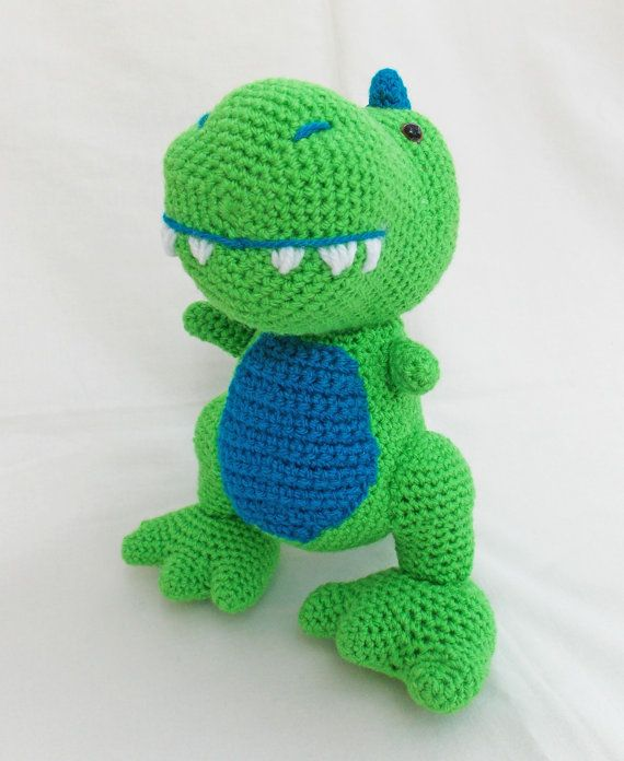 Crochet Amigurumi dinosaur T-Rex soft toy by sittingcrochet