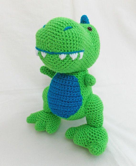 Crochet Amigurumi dinosaur T-Rex soft toy by sittingcrochet