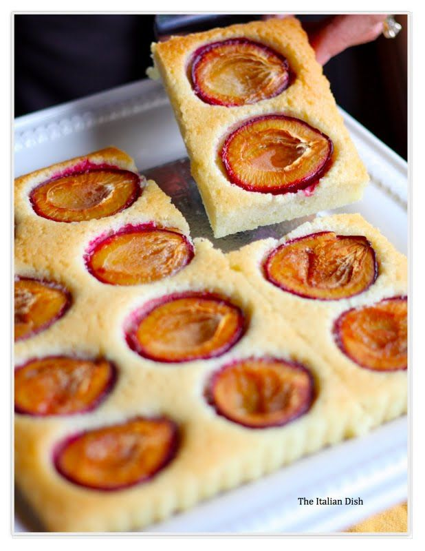 Plum AlmondCake. Delicious and so easy. Ingredients:  5 egg whites 1/2 cup sugar 2/3 cup almond flour 1/2 cup flour 13 tablespoons unsalted butter, melted & cooled 1 teaspoon almond extract 1 teaspoon lemon zest 6 Plums, halved and pits removed   Preheat oven to 350 degrees.   Bake for about 25 - 30 minutes until golden brown.