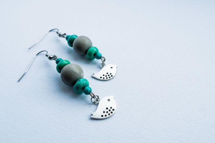 Birdies - concrete/metal earrings by cementary on Etsy