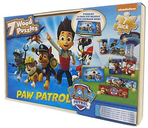 Paw patrol 7 wood puzzles;Featuring your favorite paw patrol characters;Beautiful full color graphics;Handy storage so you can build again...