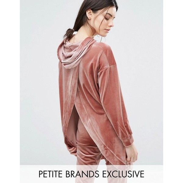 One Day Petite Hooded Longline Sweat Top With Wrap Back Detail ($47) ❤ liked on Polyvore featuring tops, hoodies, petite, pink, petite tops, wrap top, petite hoodies, oversized hoodies and pink hoodies