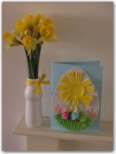 Easter card for preschoolers to make using cupcake cases