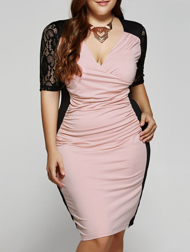 Plus Size 1/2 Sleeves V-Neck Splice Lace Dress