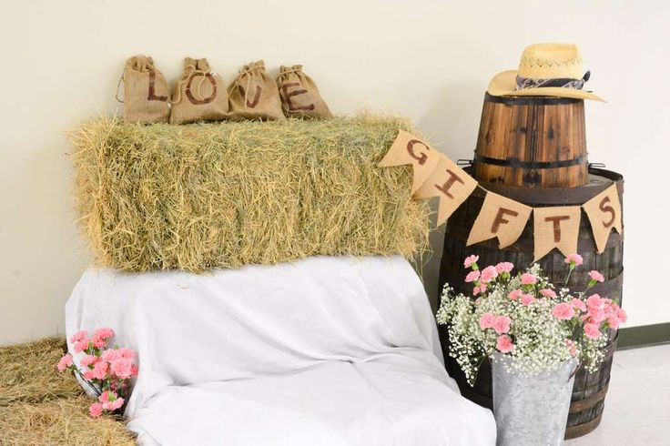 Fun photo booth at a cowgirl baby shower party! See more party planning ideas at CatchMyParty.com!