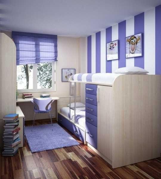 striped wall, bulnk beds and desk for kids room design