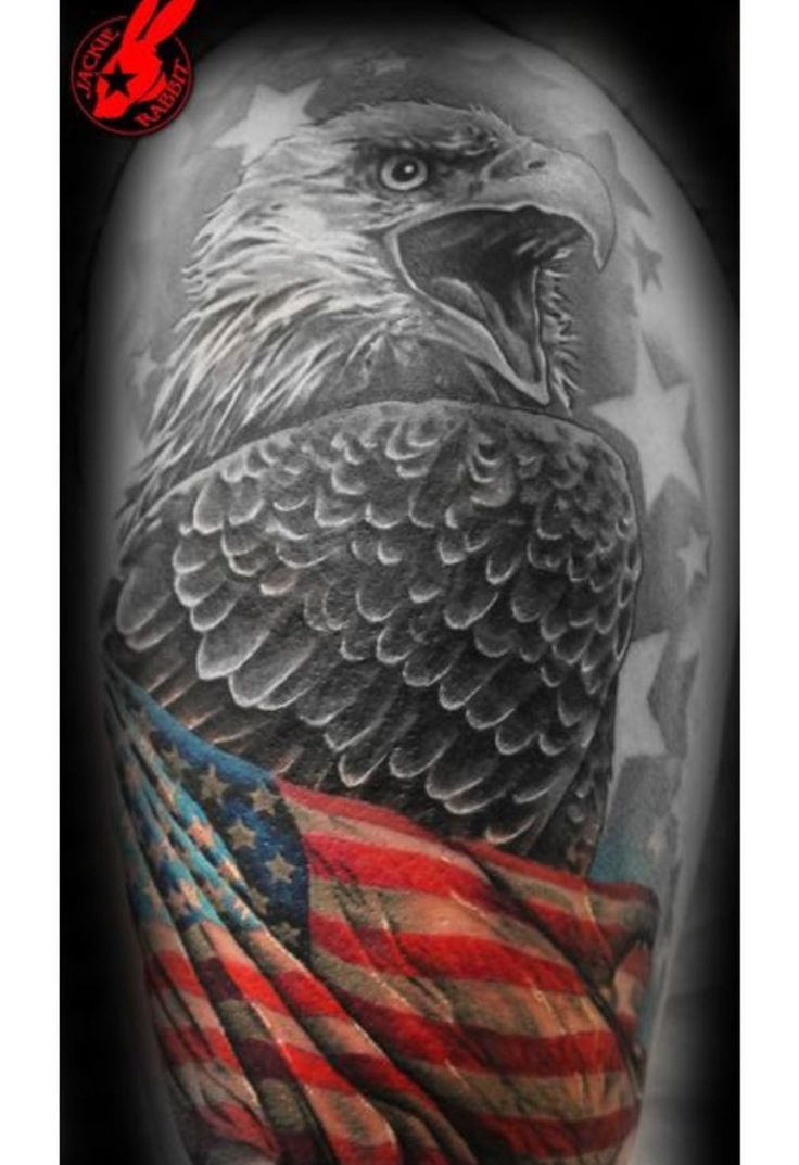 Indian with eagle and wolf tattoo on shoulder tattooimages biz - Patriotic Flag Eagle Tattoo By Jackie Rabbit
