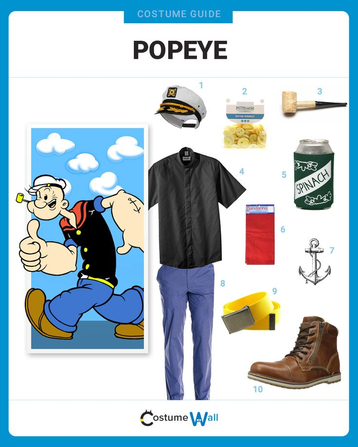 The best costume guide for dressing up like Popeye the Sailor Man, the spinach-eating cartoon who used his big muscles to save Olive Oyl.