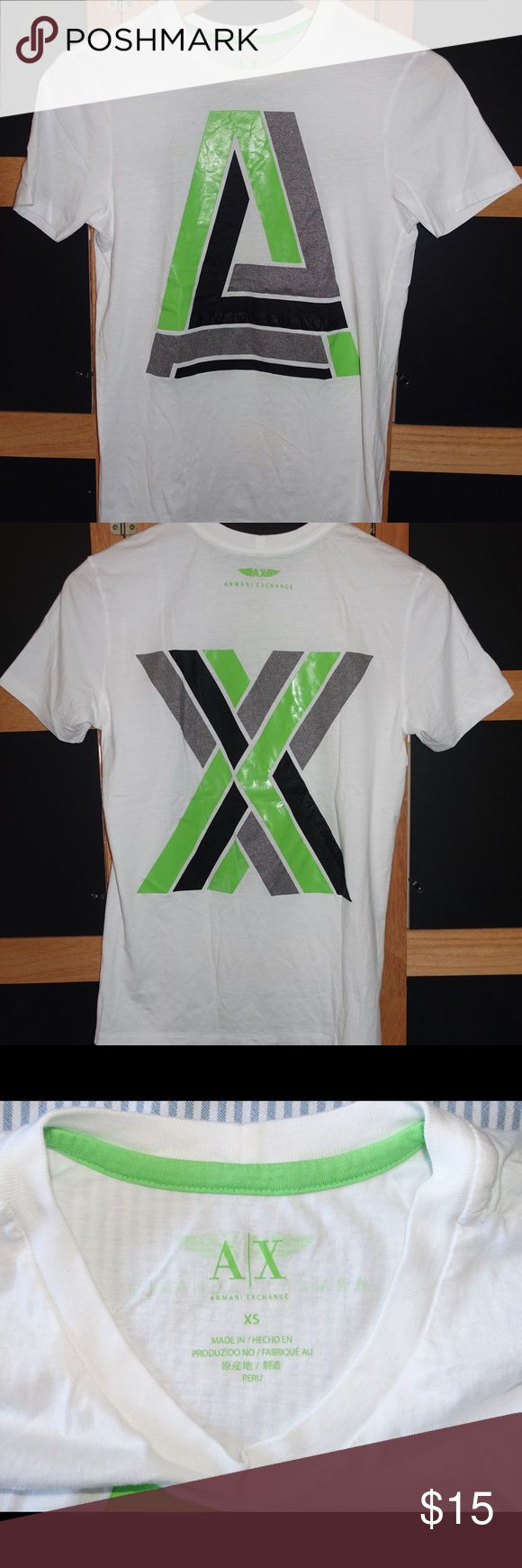 A/X Armani Exchange Men's Graphic Crew T-Shirt -XS For sale is pre-owned but excellent condition A/X Armani Exchange Men's Graphic Crew T-Shirt -XS. Very stylish with a graphic print. Selling because it doesn't fit anymore. Small hole (pictured) from washing but shirt still on excellent condition. A/X Armani Exchange Shirts Tees - Short Sleeve