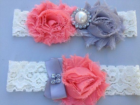 Coral /Grey Wedding Garter Set  Ivory Stretch Lace  by HopesBridal, $21.00
