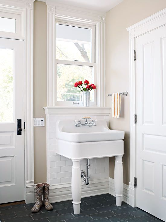 1000 ideas about farmhouse utility sinks on pinterest for Farmhouse mudroom ideas