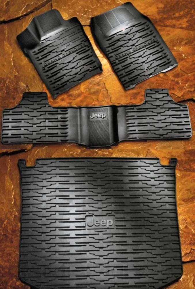 13-14 Jeep Grand Cherokee Rubber Slush Mats & Cargo Tray Set MOPAR GENUINE OEM #Mopar