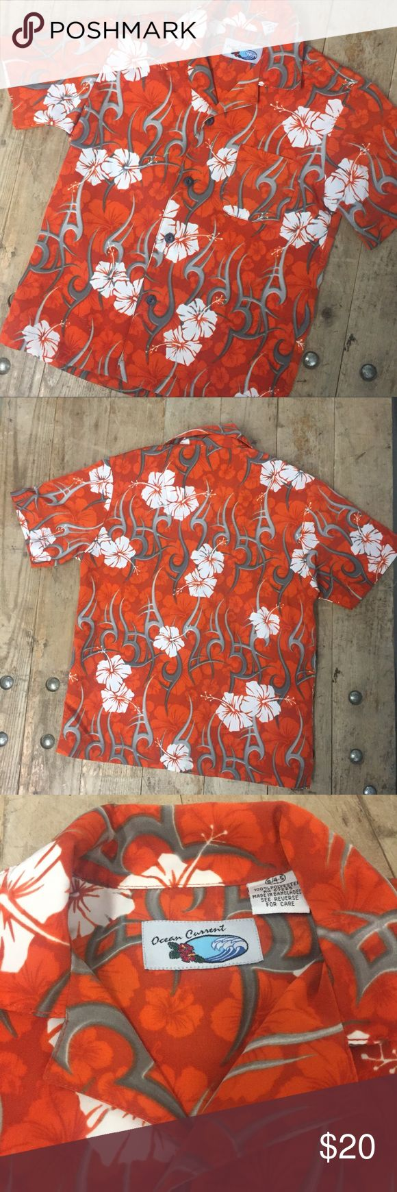 Orange Ocean Current Boys Hawaiian Shirt Boys  polyester hibiscus print shirt.  Excellent used condition. Size small 4/5. Ocean Current Shirts & Tops