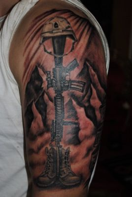 weapon-soldier-tattoo-design-for-men-on-sleeve ~ http://heledis.com/the-options-for-the-soldier-tattoo/