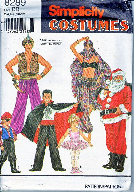 Simplicity 8289 Kids Costumes Boys and Girls Santa Vampire Pirate Tutu Harem Girl Belly Dancer Sewing Pattern Sizes 2-12 Out of Print UNCUT