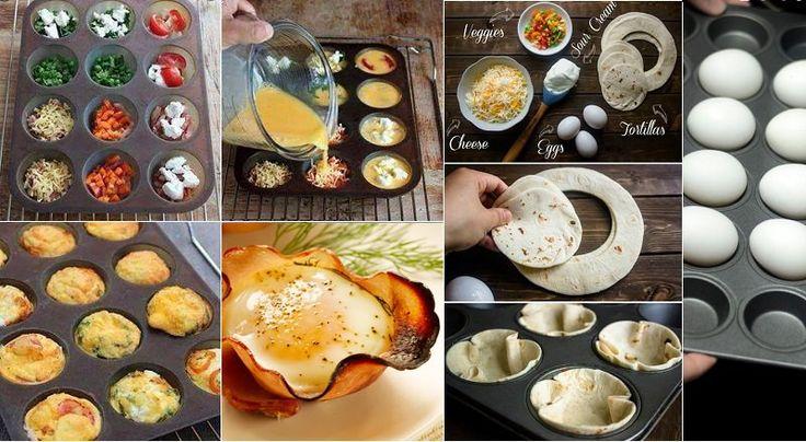 Mini tortillas : Battez 7 oeufs et 2 cuillères à soupe de lait avec un peu de sel et de poivre. Graisser un moule à muffins de 12 pièces. Ajouter vos garnitures préférées( les petits pois à la menthe , chorizo, fromage de chèvre, champignons sautés, bacon...) Répartissez votre appareil dans les cavités. Cuisson 15 min à 180 °C  14 alternatives pour faire cuire les oeufs dans un moule à cupcakes!