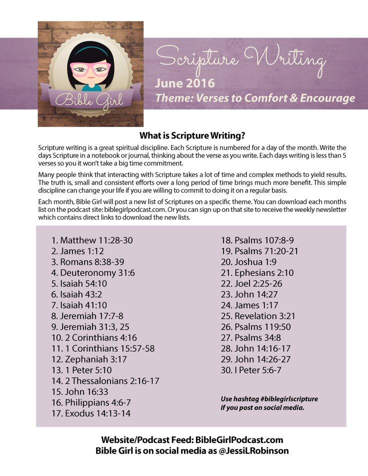 June Scripture Writing list from Bible Girl