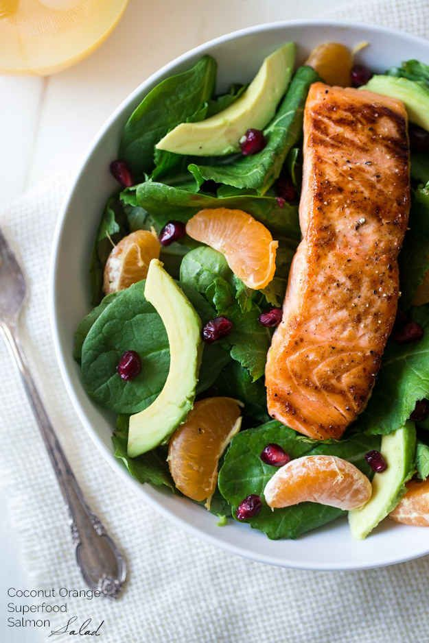 Kale Salad with Salmon, Pomegranate, and Orange Coconut Vinaigrette