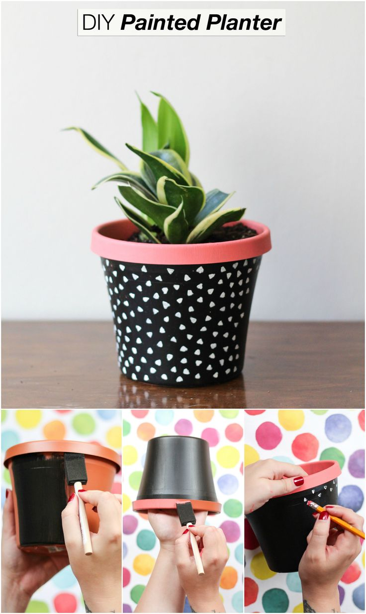 DIY Painted Plant Pot.