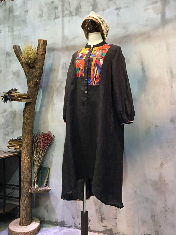 Colorful Patchwork Black Shirt Dress Wholesale Oversized Flax Clothing    #oversized #flax #linen #black #dress #shirt #blouse #patchwork #wholesale #retail #boutique