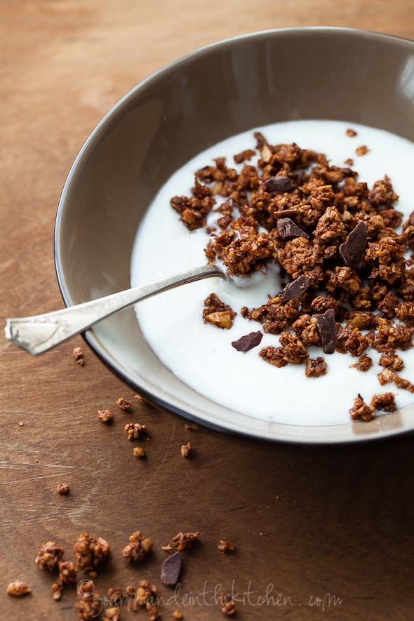 Gluten Free and Grain Free Chocolate Granola | Chocolate for Breakfast | Gourmande in the Kitchen