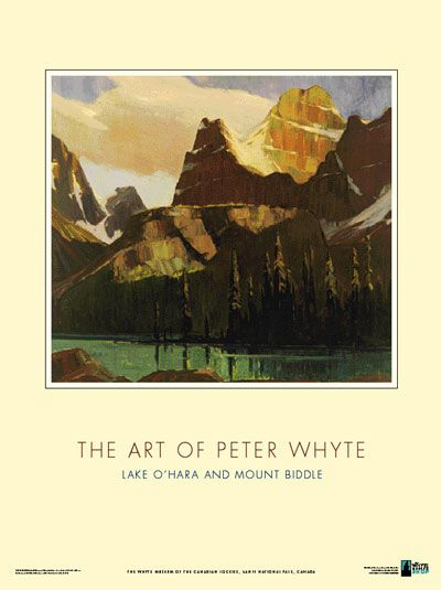 Lake O'Hara and Mt. Biddle, by Peter Whyte. Lake O'Hara and Mt. Biddle Poster, by Peter Whyte, oil on canvas, 1936. Reproduced from the Whyt...