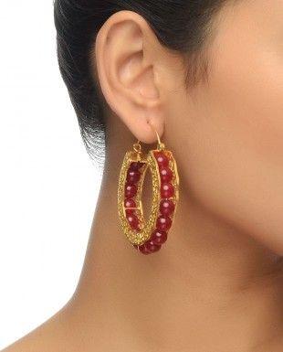 Red Stones Beaded Hoop Earrings By Kashmira Shah $99