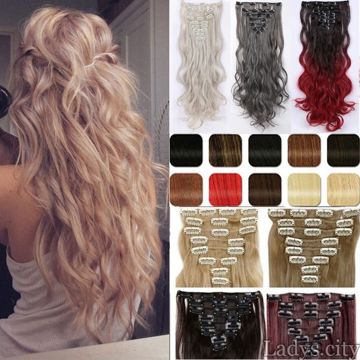"Maga Hair Long 24"" New Women Party Hair Extension 8PCS/SET Full head Clip in ins Hair extensions 100% as Natural hair Free Ship"