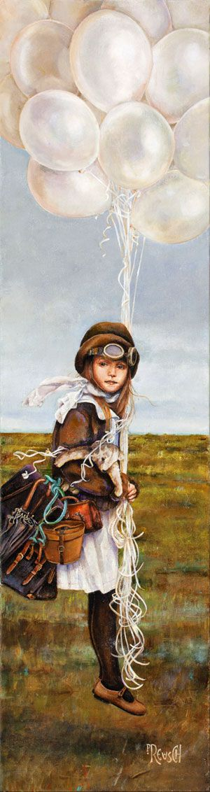 """Solo"" by Laurie Preusch...whimsy take on steampunk young girl...up up and away I say!"