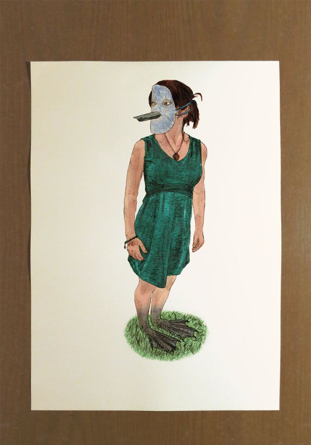 This is a Signed Limited Edition Illustration Print with an Edition of Twenty.  Artist: Benk Title: 'Masks: Comfortable and Grounded' Size: 30cm x 42cm  You too can feel Comfortable and Grounded as you feel the soft grass against your bare feet, or bird feet... your _____ feet.