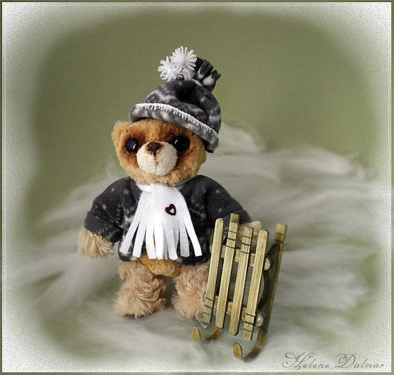 OOAK Artist Bear  Bear with a sledge by AldanaBears on Etsy, $48.90
