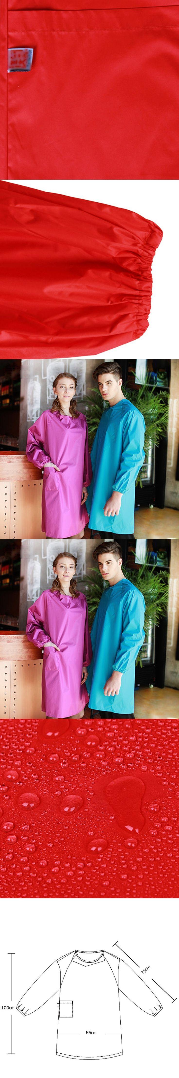 High Quality Korean Long Sleeve Waterproof Aprons Kitchen Cooking Chef Apron For Men Women Fashion Ren Blue PVC Apron