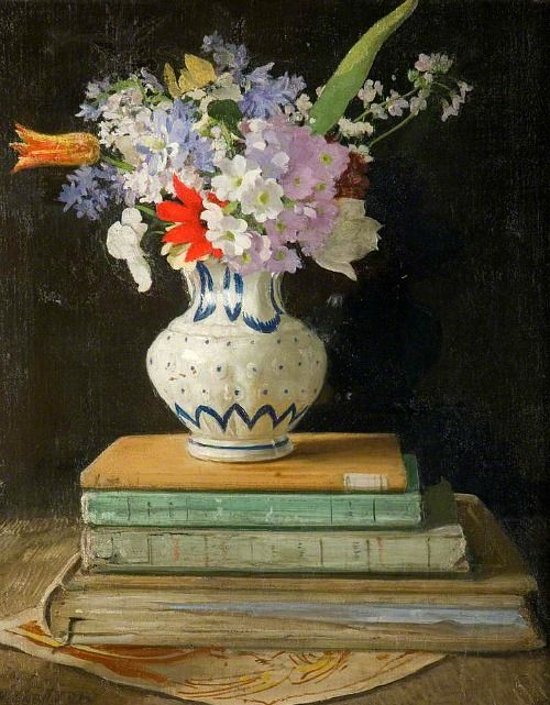 William Nicholson Flowers with Books 1927: