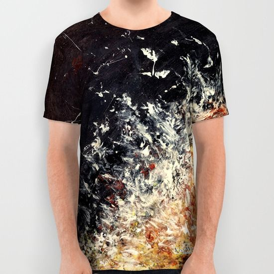 Dramatic black and orange abstract unisex T-shirts for men and women by Vinn Wong | Full collection vinnwong.com | International Shipping | Visit the shop or Pin it For Later!