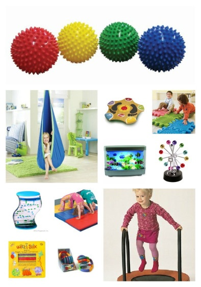 """Look around at stores for """"toys"""" that can double as Sensory tools. My kids LOVE the bumpy balls, their swing, the mini tramp and musical toys. The dollar store is an excellent source too,."""
