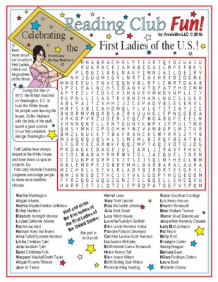Learn about the First Ladies of the United States with this Word Search Puzzle!
