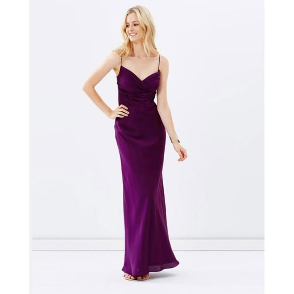 Satin Evening Dress - Burgundy