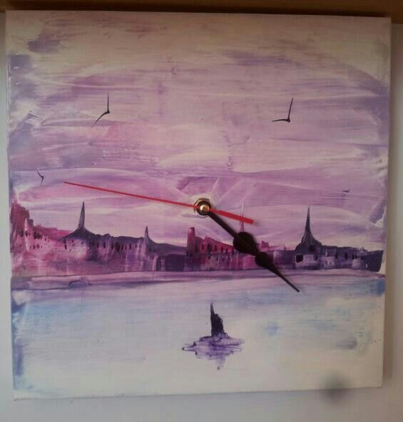 a beautiful encaustic painted clock by Karen Tait who will be at our Sandown Creative Craft Show