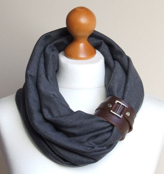 What to do with old leather belts/watch straps. I love this! Something new to do to my scarves.