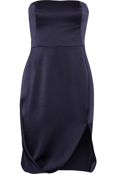 Halston Heritage - Cape-effect Satin And Crepe Dress - Midnight blue