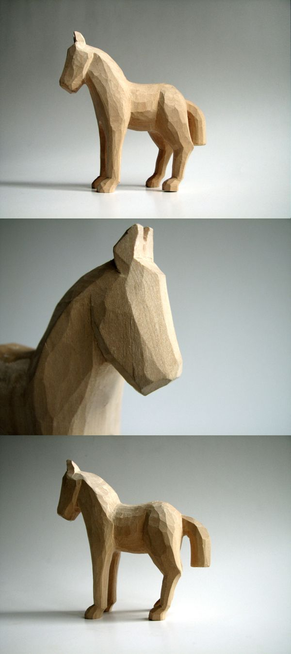 Horse woodcarving by Juozas Urbonavicius, via Behance