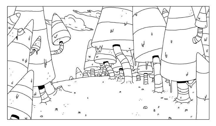 """Forest backgrounds for the Adventure Time episode """"Scamps"""" BY Andy Ristaino"""