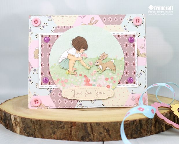 TUTORIAL:  how to make this decoupage card using trimcraft's belle and boo papercraft collection