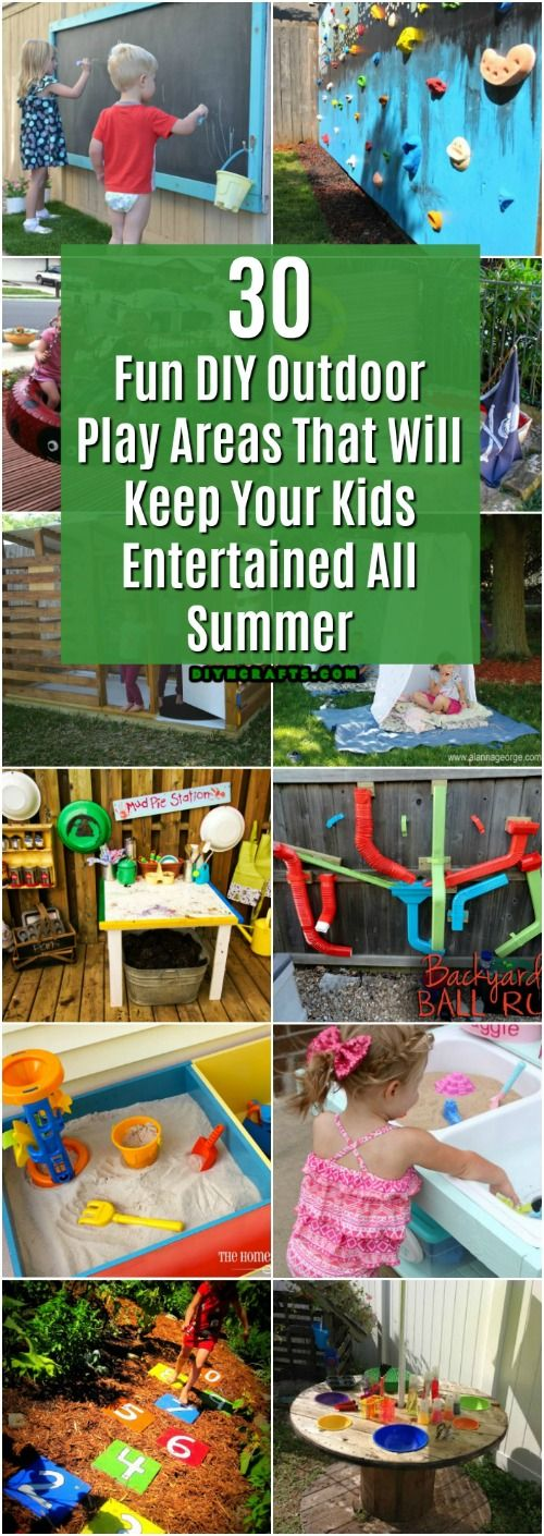 30 Fun DIY Outdoor Play Areas That Will Keep Your Kids Entertained All Summer #diy #kidsprojects #fundiy #playgrounds #play via @vanessacrafting
