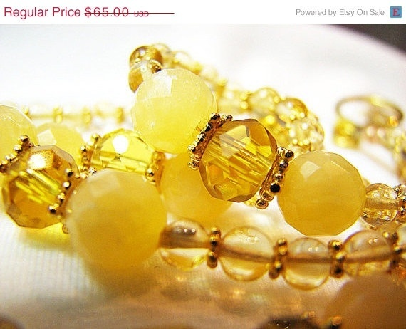 CIJ SALE Sunny yellow citrine and jade necklace by ShopPretties