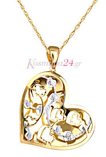 Χρυσό κολιέ 14 καρατίων, δίχρωμο για να κάνετε δώρο στην αγαπημένη σας...