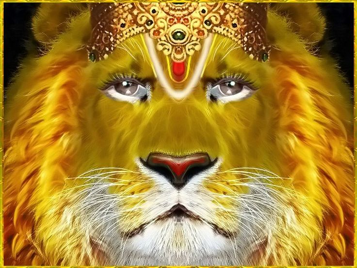 "Shri Narasimhadeva ॐ  Artist: Kaliya Krishna das    Prahlada Maharaja said:   ""O my Lord, full of six opulences, O Supreme Person! O Supreme Soul, killer of all miseries! O Supreme Person in the form of a wonderful lion and man, let me offer my respectful obeisances unto You.""~Shrimad Bhagavatam 7.10.10  Shri Narasimhadeva ॐ  Artista: Kaliya Krishna das"