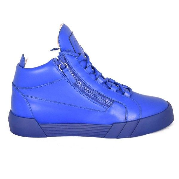 Giuseppe Zanotti The Shark 4.0 Mid-top Sneakers ($450) ❤ liked on Polyvore featuring men's fashion, men's shoes, men's sneakers, bluette, mens blue shoes, mens blue sneakers, mens lace up shoes and giuseppe zanotti mens sneakers