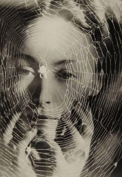 """Man Ray, """"Portrait of Dora Maar with Spider,"""" Photographic Montage, ca. 1936."""